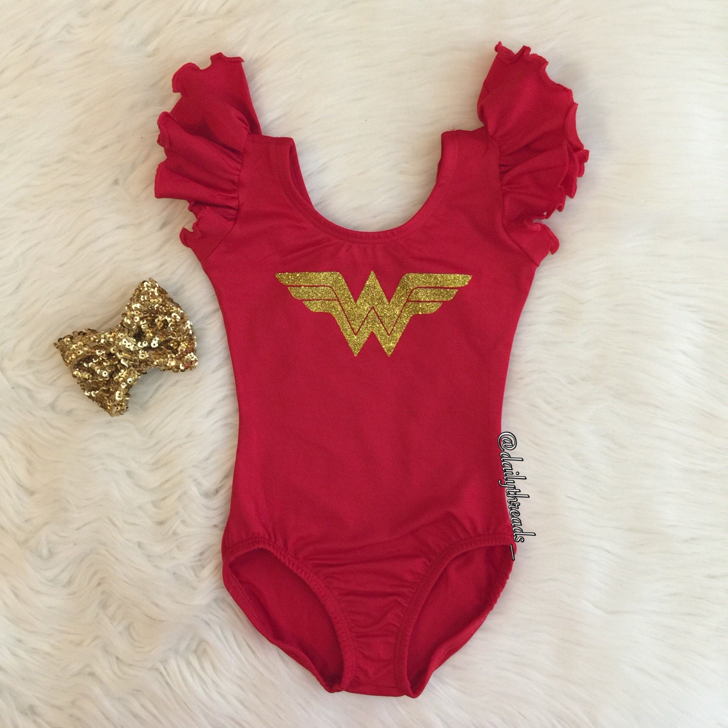 "Kids Size - Glitter ""Wonder Woman"" inspired Leotard / Crop Top / Shirt (Kids Size: 2-12 years)"