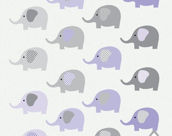 Purple Elephant Clipart, Gray and Pink Elephants, Girl Elephant, Small Commercial Use OK, PNG Clipart, digital, scrapbooking element,instant