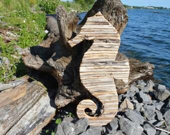 Driftwood Seahorse Wall Decor - Handmade