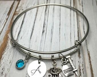 Nurse gift/ RN gift/ Nursing student gift/ Birthstone Bracelet