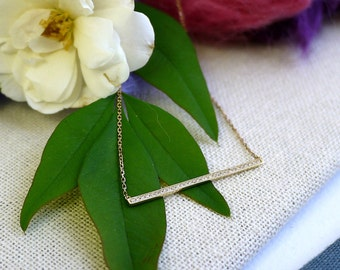 18K solid gold diamond bar necklace