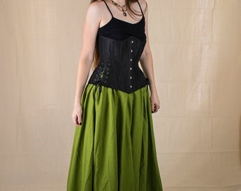Mossy Green Linen Renaissance Skirt - Halloween Costume - Ren Faire Garb - Womens Medieval Clothing - Witch Costume - Long Skirt - SCA LARP