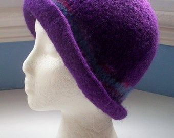 Hand knitted boiled wool felt hat, Downton style,purple with light blue and burgundy trim.