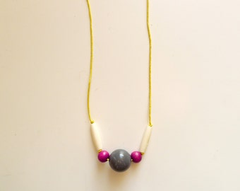 Simple Necklace - Grey pink white beads - Necklace n.11