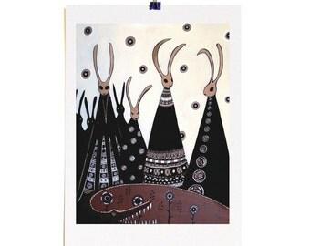 Rabbit Gathering - A3 Archival Fine Art Print