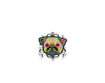 Pug in Fawn Ring - Day of the Dead Sugar Skull Dog Adjustable Ring