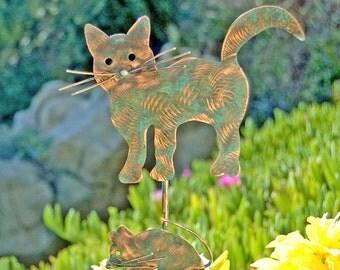 Cat / Mouse / Handmade / Garden Stake / Metal Garden Art / Copper Art / Animal Sculpture / Plant Stake / Metal Cat / Pet Lovers Gift / Spike