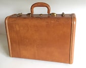 Vintage 50s Samsonite Brown Leather Over Night Small Suitcase