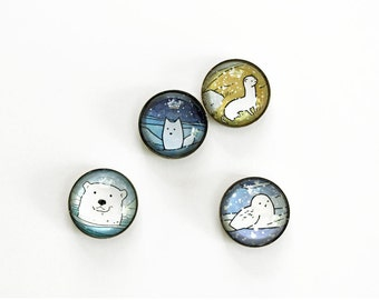 Arctic animals magnet set, polar bear, arctic fox, snowy owl, weasel art magnets