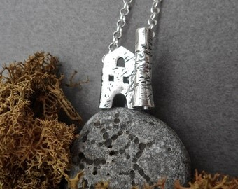 Tiny Cornish Tin Mine Necklace in Sterling Silver Ready to Ship