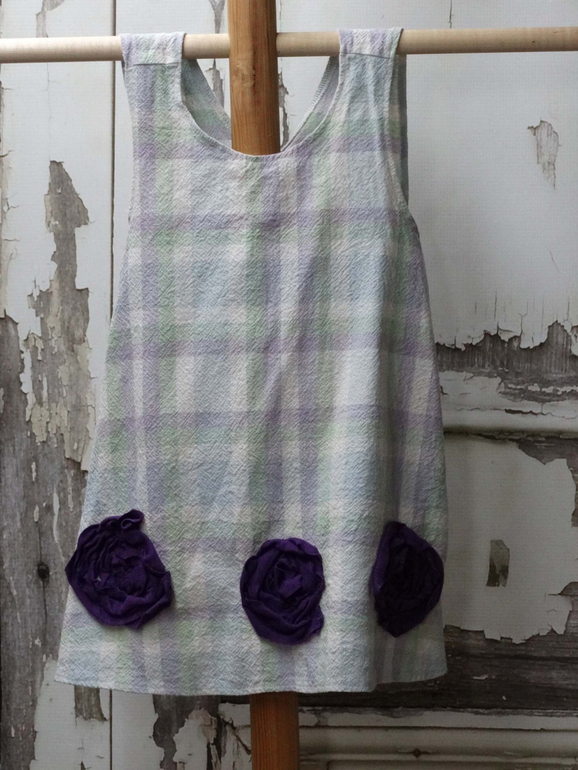 Little Girls Dress Apron Cross Back Pinafore Top Upcycled