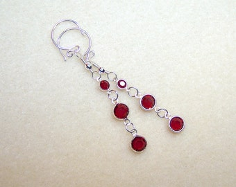 Dark Red Earrings for Women Deep Red Crystal Earings Long Silver Red Drop Crystal Jewelry Canada Handmade Gift Ideas for Her Red Earings