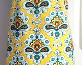 Two Sided Apron -  Chef Apron - Yellow Damask Apron - Women's Apron - Reversible Apron - Polka Dot Apron - Turquoise Apron