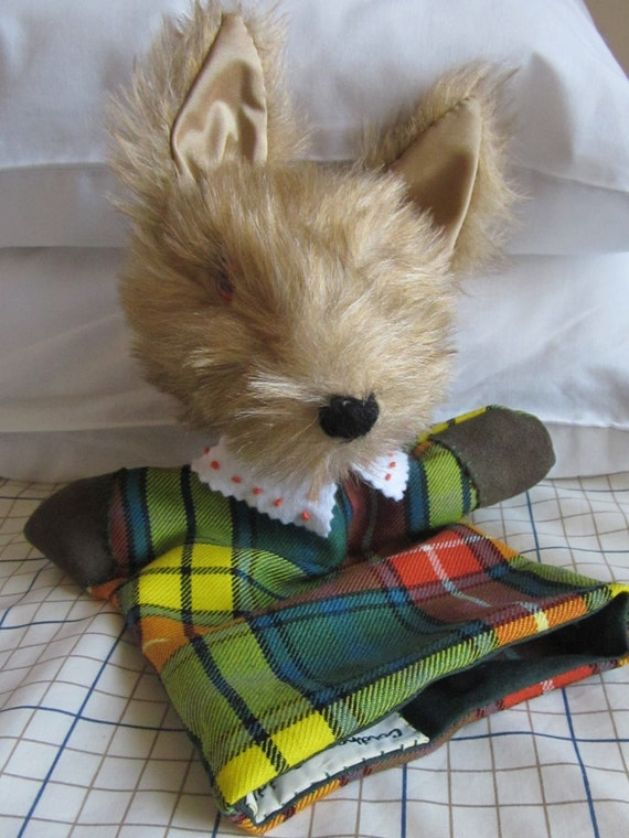 Coyote Hand Puppet Activity Toy Teaching Aid  Buchanan Tartan Fabric Lined Glove Cool Toy for Tots Toddlers Toy Tots or Toddler Activity Toy