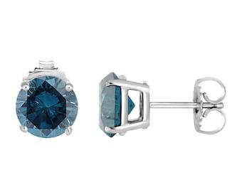 2.00 Carat VS2 Blue Diamond Stud Earrings 14K White Gold Certified Handmade