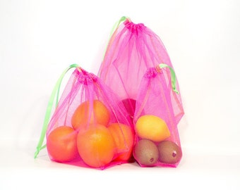 Reusable Produce Bags - Set of 3 -  Choose Mesh Color - Lime Green Drawstring & Stitching