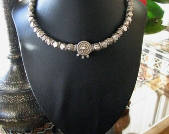 "Vintage Toda Tribe Silver Beaded Necklace, 43cm (17""), Tamil Nadu, South India, High Grade Silver Beads, Hansuli,Torque, Choker, 193.8 Grams"