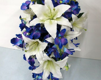Cascade bouquet - Blue orchid white lily cascade bouquet - Cascading bouquet wedding bouquet brides bouquet