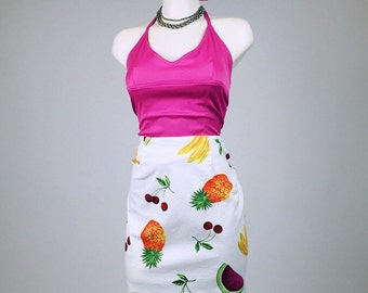 90's Fruit Print Watermelon, Pineapple, Banana and Cherry Pencil Skirt // M - L