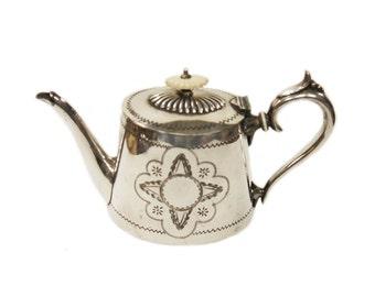 Edwardian Silver Plate Teapot c.1900 Silver Plated Teapot Engraved Silver Antique Teapot Vintage