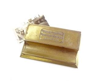Vintage Brass Desk Organizer / Advertising Pen and Paper Clip Holder / Office Supply Storage Box
