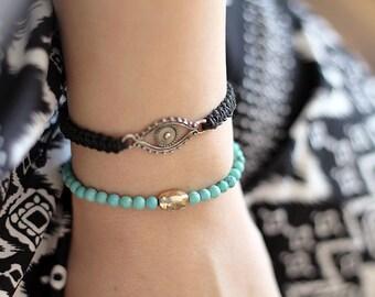 Evil Eye Bracelet - Hemp Bracelet - Hemp Jewelry