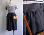 20% Off (Code In Shop) - Vintage 80's 'Modern Victorian' Charcoal Pinstripe Skirt with Pockets XS S M