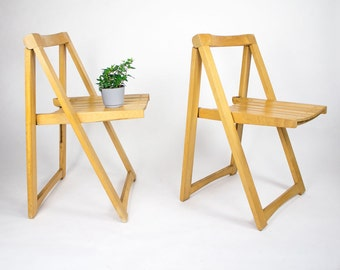 Wooden Folding Chairs, Pair / Mid Century Chairs / Mid Century Wooden Chairs / Wooden Dining Chairs / Made in Yugoslavia