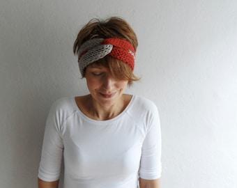 Knitted Headband Turban Headband Chunky Earwarmer Twist Headband Hair Accessory Two Color Brick Red Stone Beige