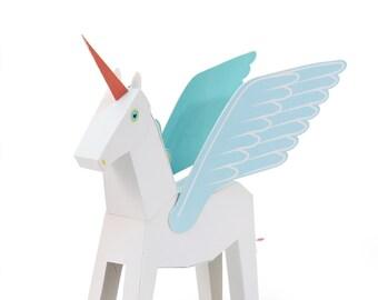 White Pegacorn Paper Toy - DIY Paper Craft Kit - 3D Paper Animal