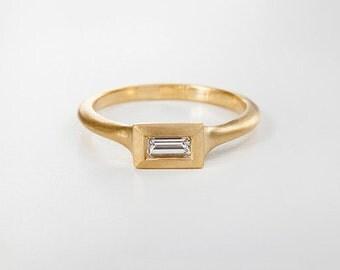 Minimalist Diamond Ring, Simple Baguette Ring,18k Yellow Diamond Ring Baguette Diamond 14k Dainty Ring,Dainty Engagement Ring