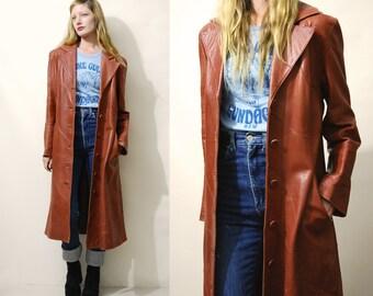 70s Soft Vintage Leather Coat Long PATCHWORK Leather Jacket Tan Soft Leather Trenchcoat Hippie Bohemian Boho 1970s vtg Dreske Somoff S M