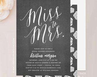 Miss to Mrs Bridal Shower Invitation - Miss to Mrs, Miss to Mrs Invitation, Bridal Shower Invite, Wedding Shower Invite, Bridal Brunch