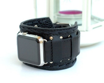Apple Watch Strap Handmade Vintage Black. Lugs Adapter for Apple Watch (or Apple Watch Sport) 42mm, 38mm. Two in one. A15