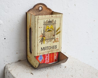 Vintage Metal Matches Wall Box/Holder