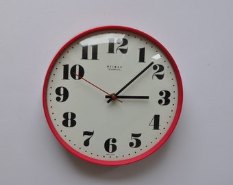 "10.5"" diameter Vintage German Wall Clock from Weimar. Red. Kitchen Clock.  Made in former GDR (East Germany). 1110"