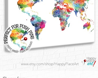 Bright nursery art etsy watercolor world map world map wall art bright nursery wall art watercolor map large gumiabroncs Choice Image