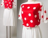 Vintage 80s Dress, Vintage Red Dress, Red Polka Dot Dress, Vintage Polka Dot Dress, Summer dress - M/L