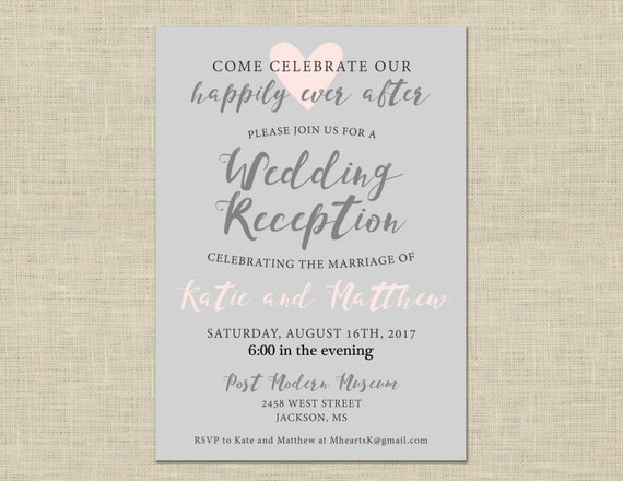 Wedding Welcome Dinner Invitation Wording: Printable Wedding Reception Invitation Celebration After