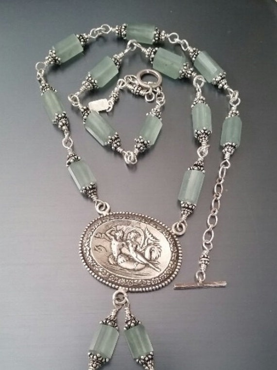 Incredible Antique Nautilus Merman Pendant Necklace