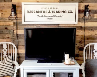 Mercantile & Trading Co. Painted Wood Sign | Wall decor (Rustic Chic, Modern Farmhouse, Fixer Upper)