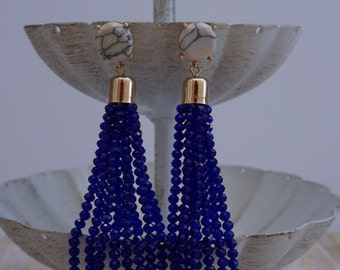 Natasha Bead Tassel Earrings - Navy Blue