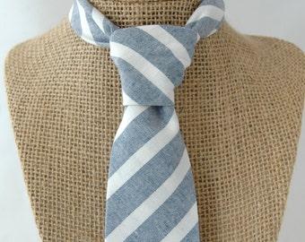 Men's Necktie - White and Light Blue Striped Chambray - SKINNY or SLIM