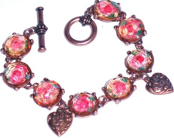 Painted Pink Rose Heart Bracelet Vintage Style Romantic Victorian Jewelry FREE SHIPPING