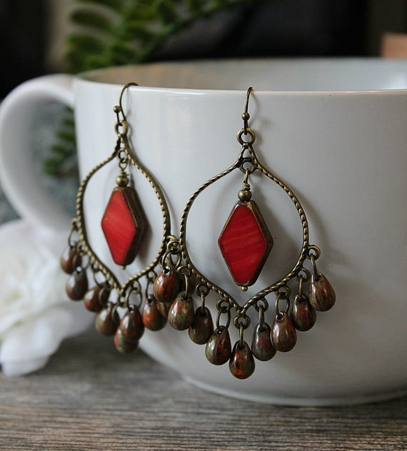 Red Diamond Chandelier Earrings: NEW Red Brown Chandelier Earrings Camo Bohemian Hoops Large