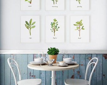Herb watercolor painting, Kitchen art, Herb print, Set of 6, Kitchen decor, Botanical print, Green herb illustration, Spring decor, Thyme