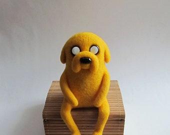 Jake Adventure Time - felted Jake - felt miniature - felt doll - jake the dog - finn and jake - needle felted toy - geek - yolk - yellow