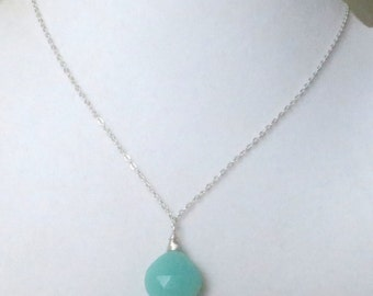 Chalcedony Turquoise Sterling Silver Necklace