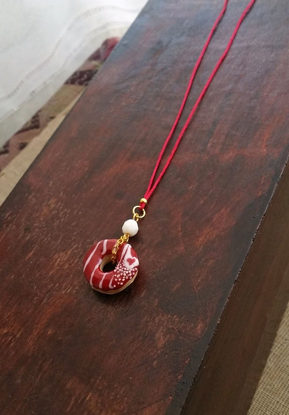 Red Velvet Donut Charm Necklace From Polymer Clay Long