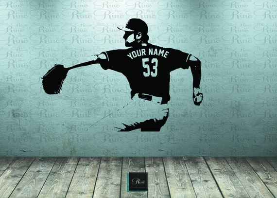 Baseball Wall Decal Wall Art CUSTOM NAME Jersey Numbers - Custom vinyl baseball decals